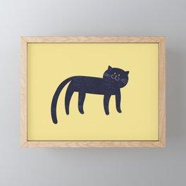 the blue cat Framed Mini Art Print