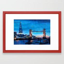 London Tower Bridge and The Shard at Dusk Framed Art Print