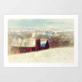 The Barn Over The Hill Art Print