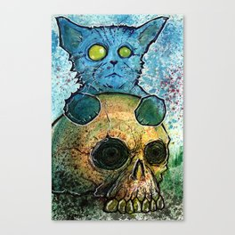 Blue Cat on a Skull Canvas Print