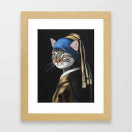 Cat with a pearl earring anthropomorphic Framed Art Print