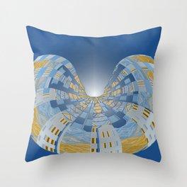 Briliant Blue Geometric Magi Donut Throw Pillow