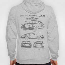 911 Classic Car Patent - 911 Carrera Art - Black And White Hoody