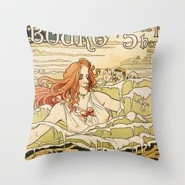 Cabourg Paris Beach art nouveau travel ad Throw Pillow