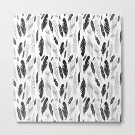 raphic pattern feathers on a white background Metal Print