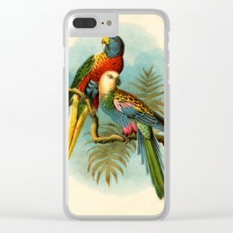 Vintage Parrots Clear iPhone Case