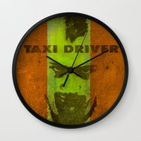 taxi driver Wall Clocks featuring Taxi Driver by Joe Ganech