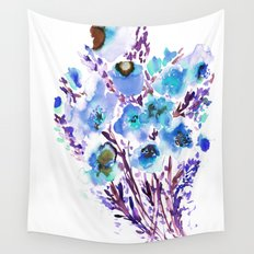 Bouquet Blue Wall Tapestry