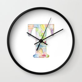 Letter T - Watercolor Monogram - Colorful Lettering - Watercolor Letter Print - Watercolor Initial Wall Clock
