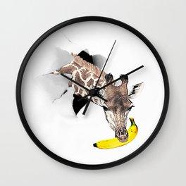 Giraffe with Banana  Wall Clock