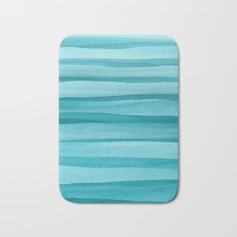 Teal Watercolor Lines Pattern Bath Mat