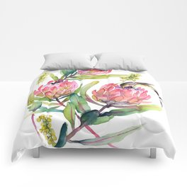 King Protea and Bird Watercolor Illustration Botanical Design Comforters