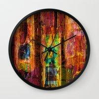 rio Wall Clocks featuring Rio by FYLLAYTA, surface design,Tina Olsson