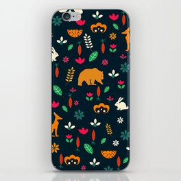 Cute little animals among flowers iPhone Skin