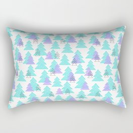 Cute winter design with mosaic pine trees. Rectangular Pillow