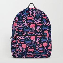 Sea life. Watercolor Backpack