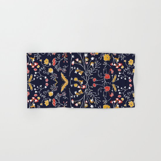Flowers Pattern Dark Hand & Bath Towel