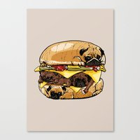 pugs Canvas Prints featuring Pugs Burger by Huebucket