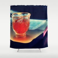 arabic Shower Curtains featuring Arabic Coffee by Grim99