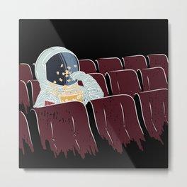 Astronaut Watching a Movie Metal Print