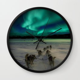 Winter Northern Lights Dog Sled (Color) Wall Clock