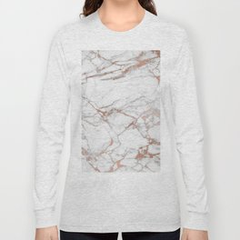 White & Gold Faux Marble Long Sleeve T-shirt