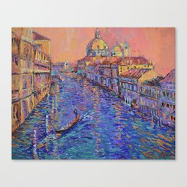 Sunset Over The Grand Canal In Venice -palette knife urban city landscape by Adriana Dziuba Canvas Print