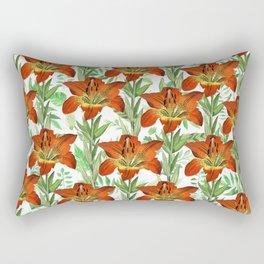 Vintage orange yellow green lily floral pattern Rectangular Pillow