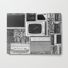 Vhs Tapes and Vinyl Collection with TV Glitch Metal Print