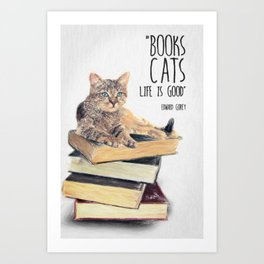 Cat Quote By Edward Gorey Art Print