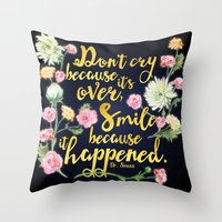 dr seuss Throw Pillows featuring Dr. Seuss - Don't Cry by Evie Seo