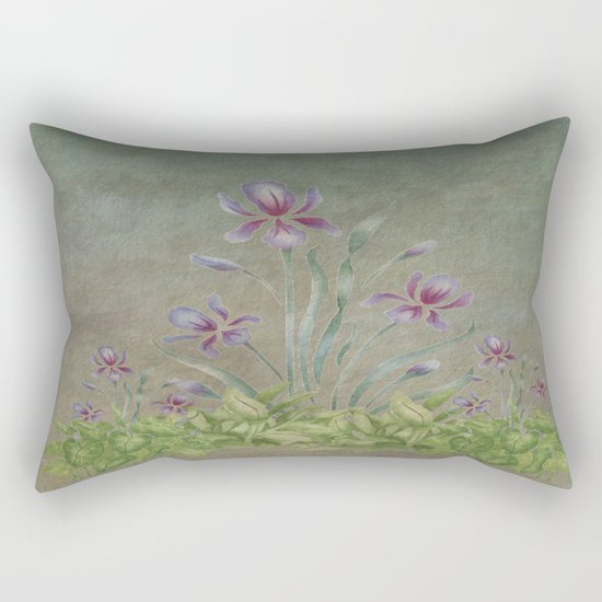 Painterly Spring Flower Garden  Rectangular Pillow