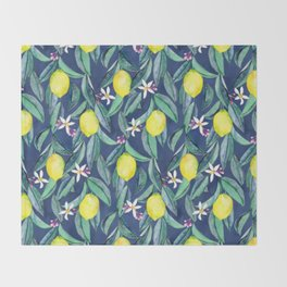 When Life Gives You Lemons - blue Throw Blanket