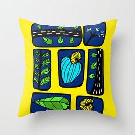 Blue & Yellow Cashew Apple Throw Pillow