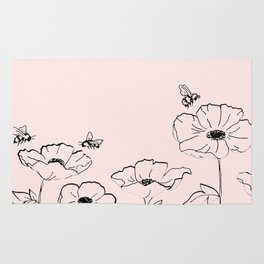 Poppies & Honeybees Rug