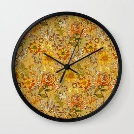 Rose vintage inpsired retro, warm colors 70s, boho Wall Clock