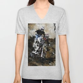 """Dare to Race"" Motocross Dirt-Bike Racers Unisex V-Neck"