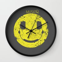 springsteen Wall Clocks featuring Music Smile V2 by Sitchko