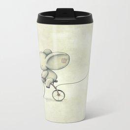 Cute Elephant riding his bike Metal Travel Mug