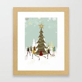 Christmas tree and children Framed Art Print