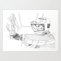 2001 a space odyssey Art Prints featuring 2001 A Space Odyssey by Ah Shun