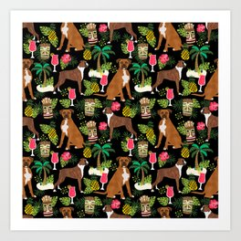 Boxer tiki tropical dog pattern modern pet friendly pet pattern dog breeds Art Print