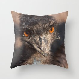 Emu close-up Throw Pillow