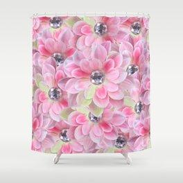 Shocking Pink Flora Gems Shower Curtain
