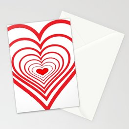 RED VALENTINES HEARTS IN HEARTS ART Stationery Cards