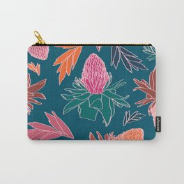 Tropical Ginger Plants in Coral + Teal Carry-All Pouch