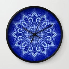 Blue Boho Mandala Flower Wall Clock