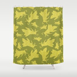 Grasshopper yellow Shower Curtain