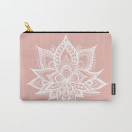 White Lotus Flower on Rose Gold Carry-All Pouch