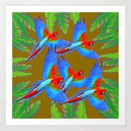 GREEN JUNGLE BLUE MACAW PARROTS Art Print